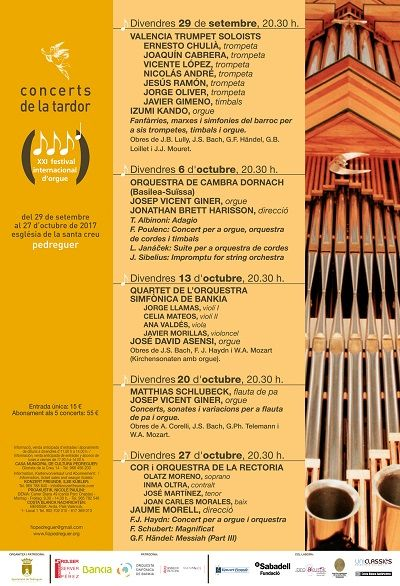 21th. International Organ Festival in Pedreguer